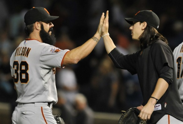 SF Giants pitching staff Lincecum Wilson images
