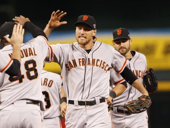 Hunter Pence goes in the for kill NLCS 2012